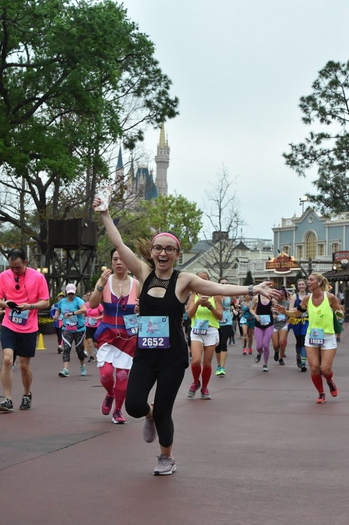 Enjoying my disney half marathon run